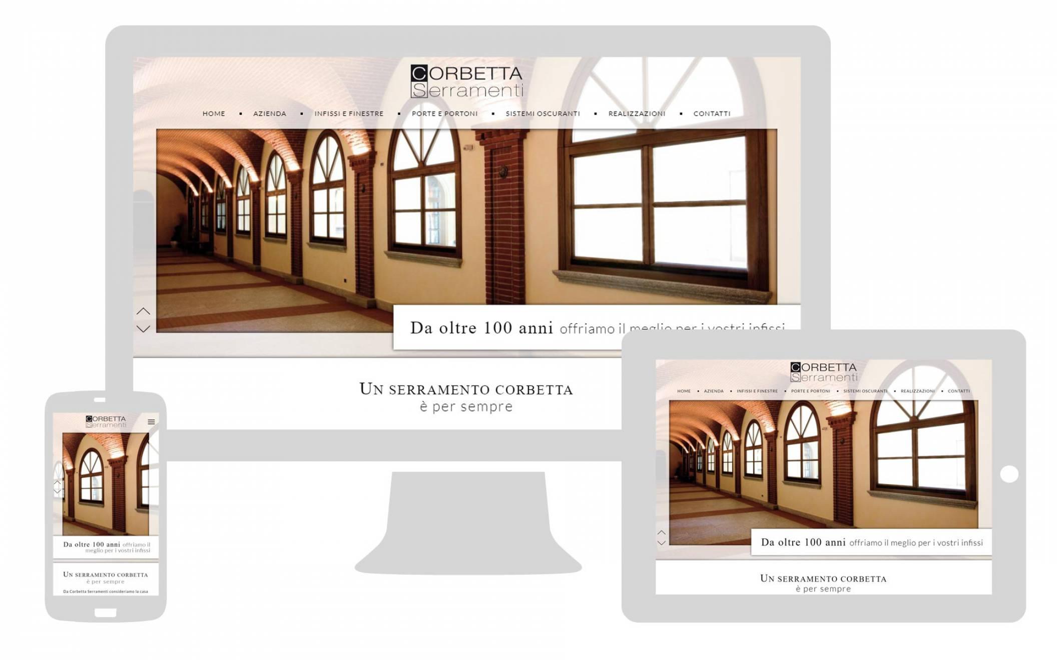 grafica responsive sito internet corbetta serramenti realizzato da newvisibility