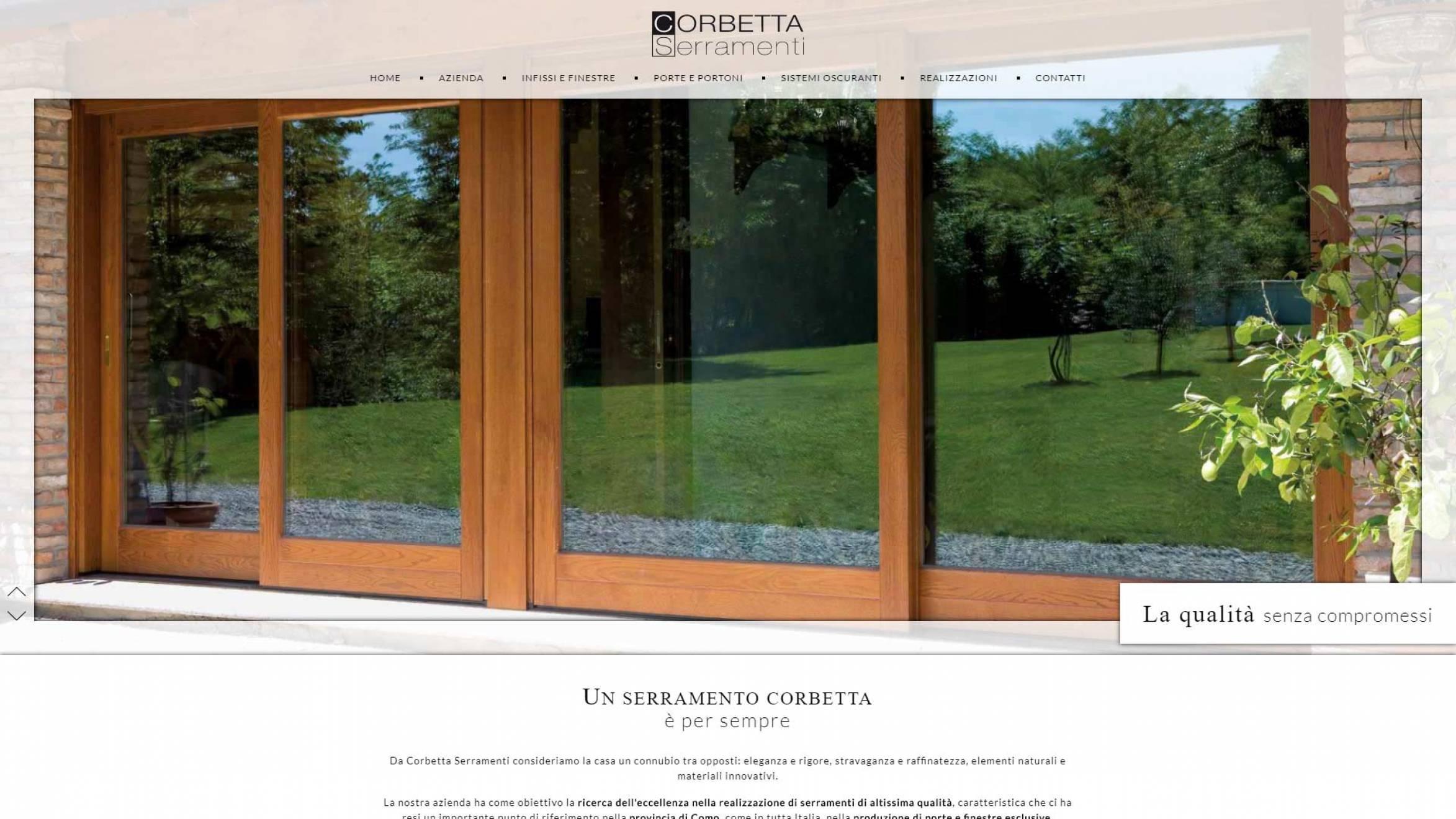 home page sito internet corbetta serramenti realizzato da newvisibility