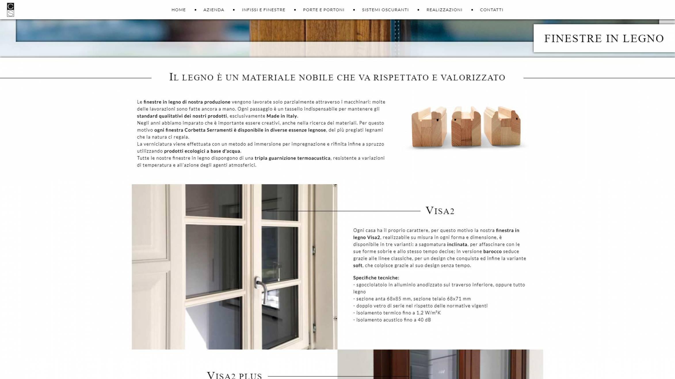 pagina prodotto sito internet corbetta serramenti realizzato da newvisibility