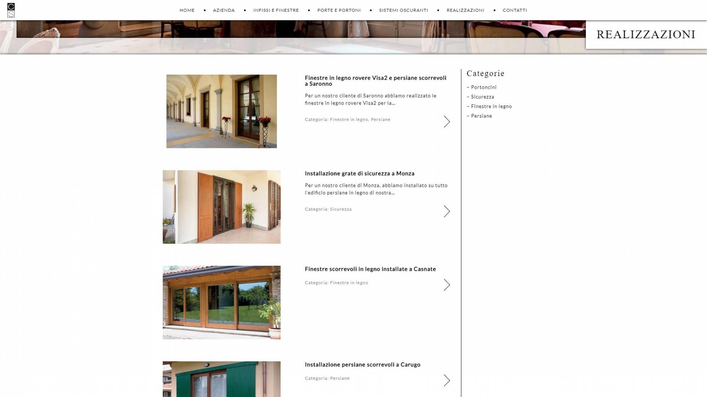 pagina realizzazioni sito internet corbetta serramenti realizzato da newvisibility