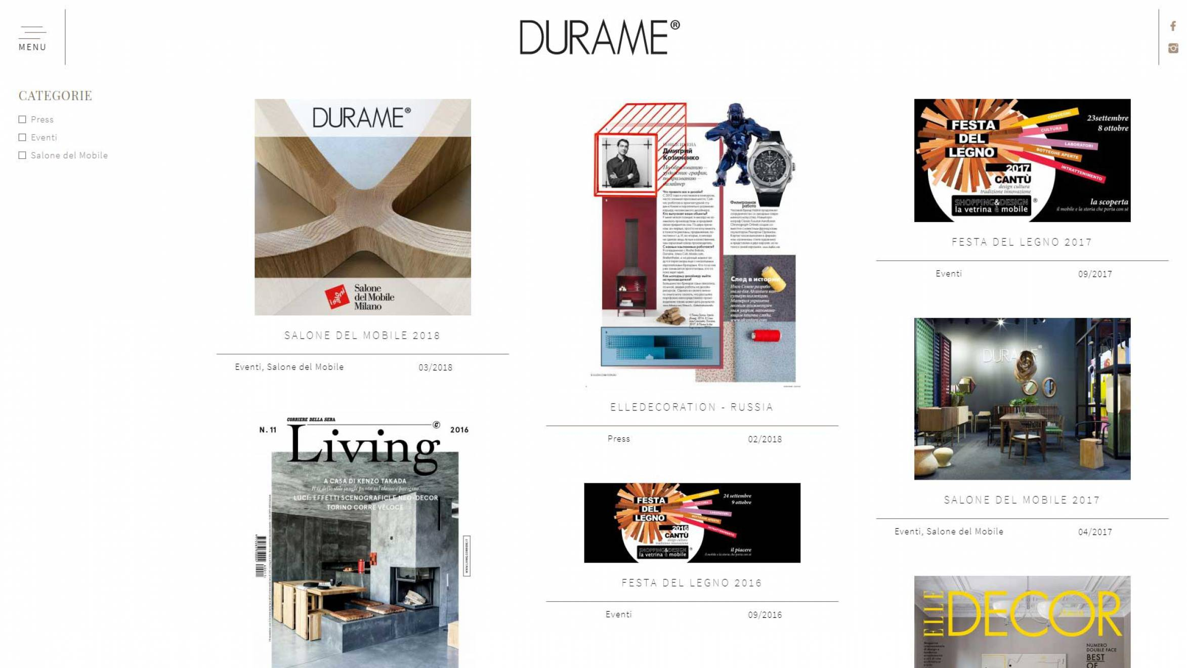 pagina sito internet Durame realizzato da NewVisibility