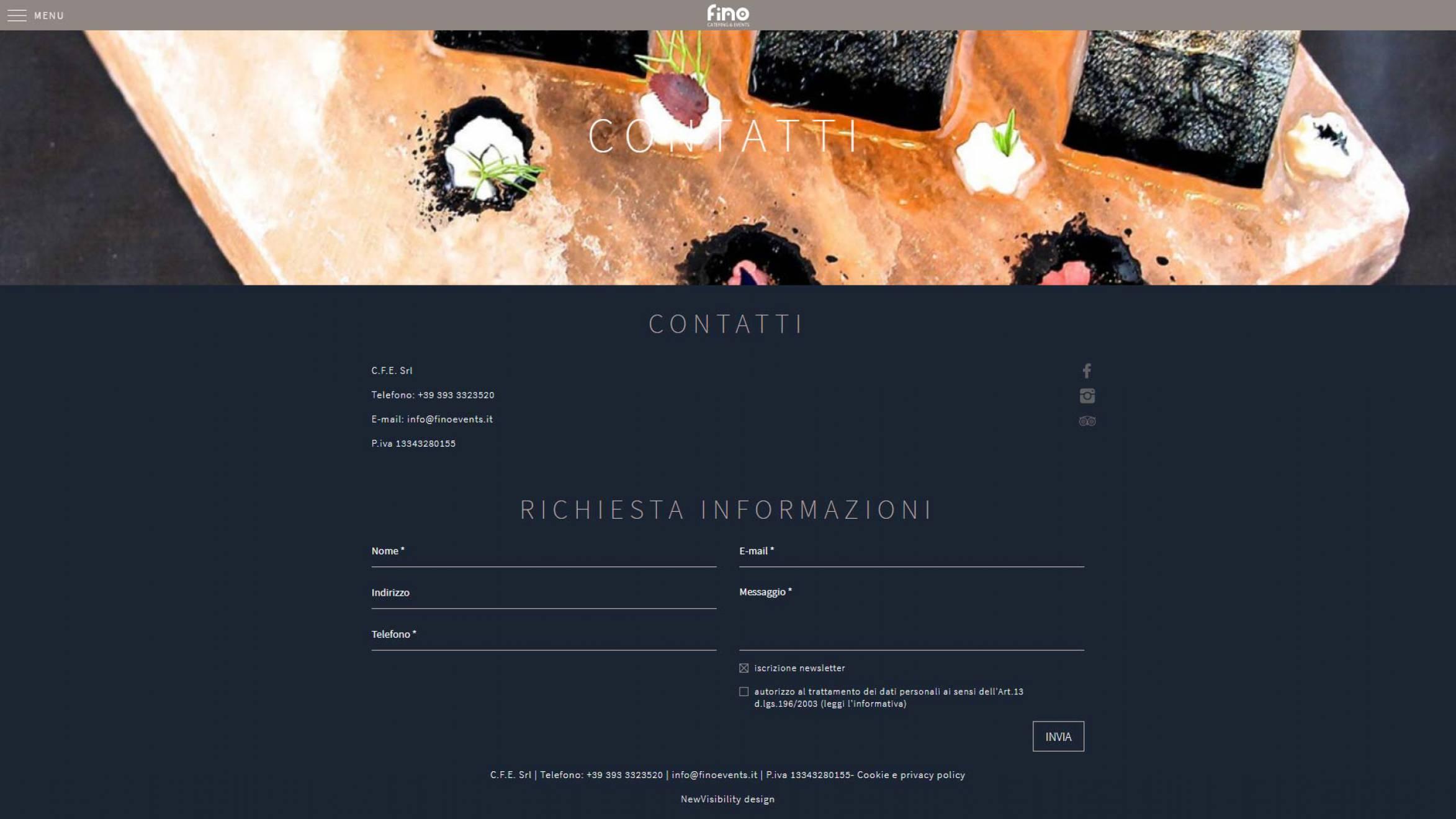 realizzazione sito internet Fino Events newvisibility