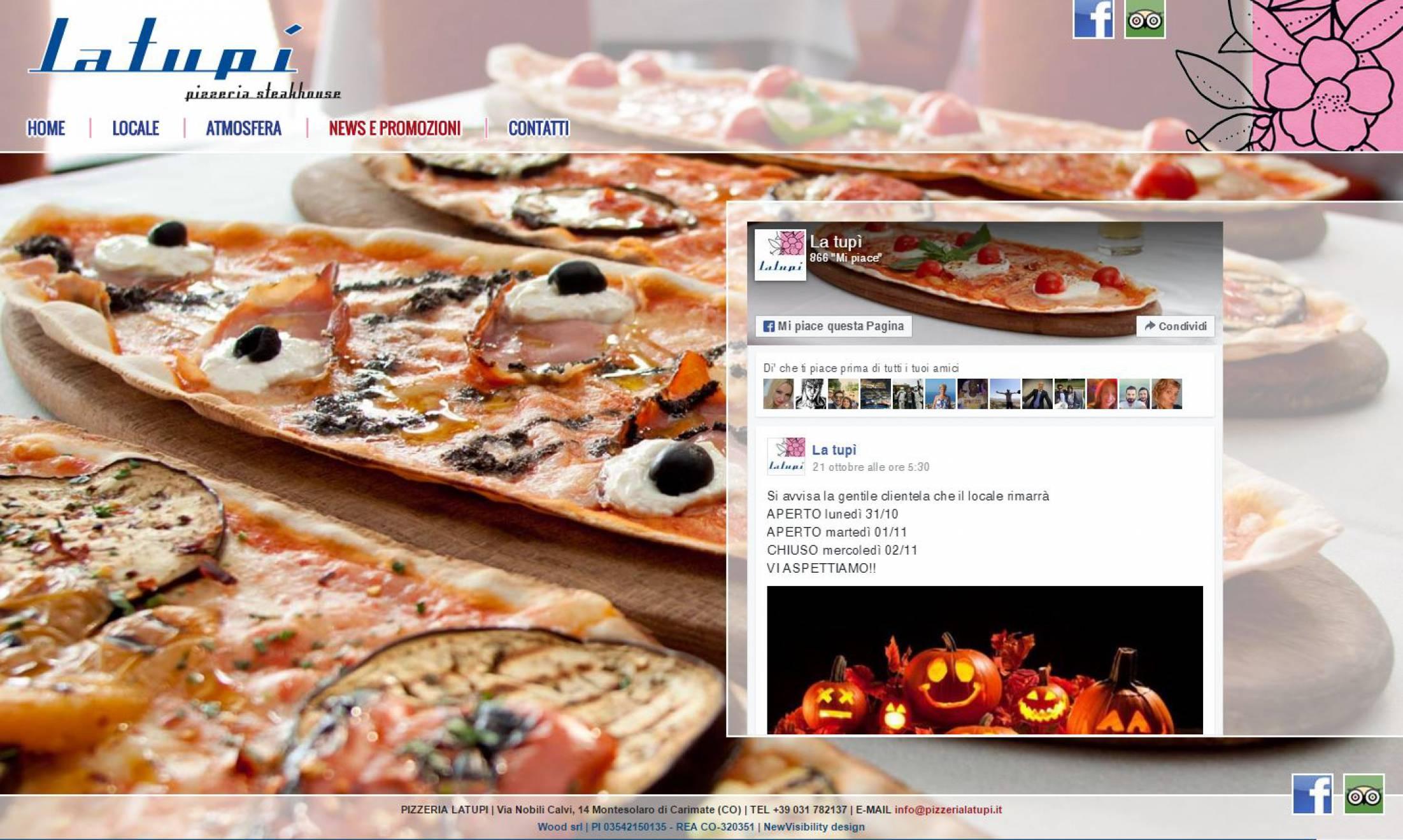 Collegamento Facebook sito internet responsive La Tupì