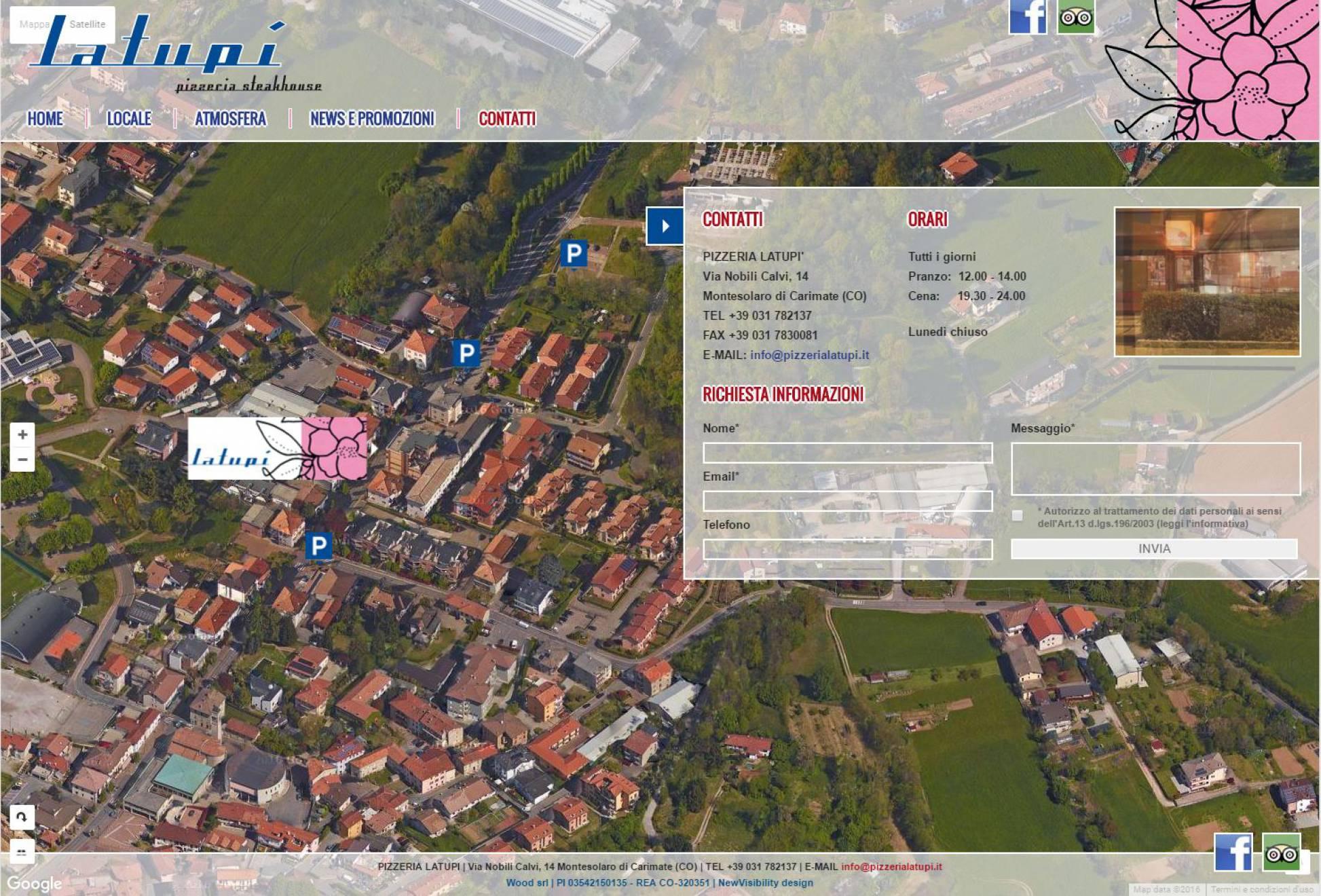 Contatti mappa aerea sito internet responsive La Tupì