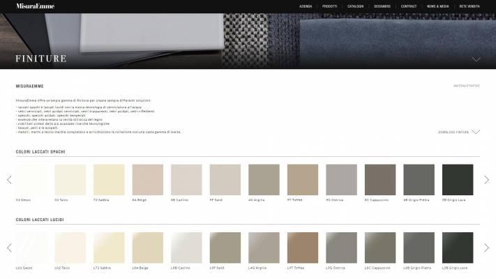 Gestione pagina finiture correlata al prodotto per il sito MisuraEmme