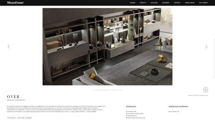 Pagina prodotto sito internet responsive con gestione contenuti area riservata MisuraEmme