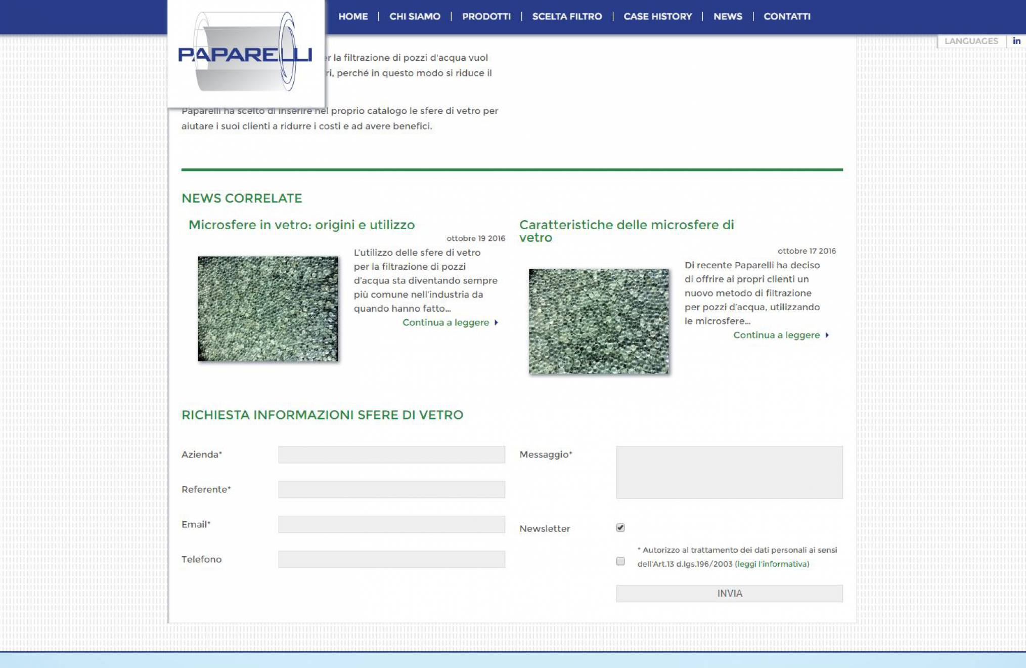 Realizzazione sito internet keywords sfere di vetro Paparelli