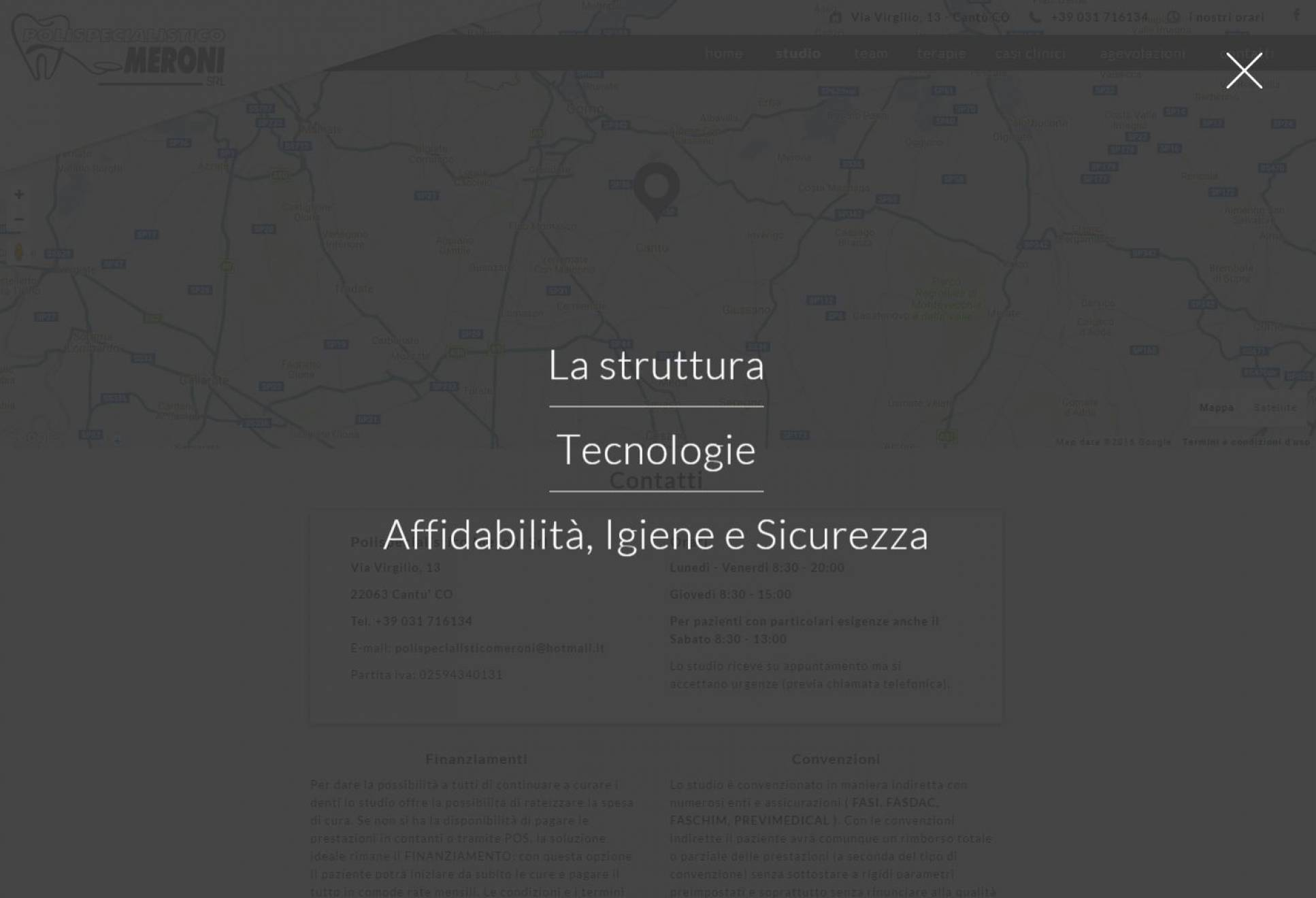 Sottomenu sito internet landing page Polispecialistico Meroni