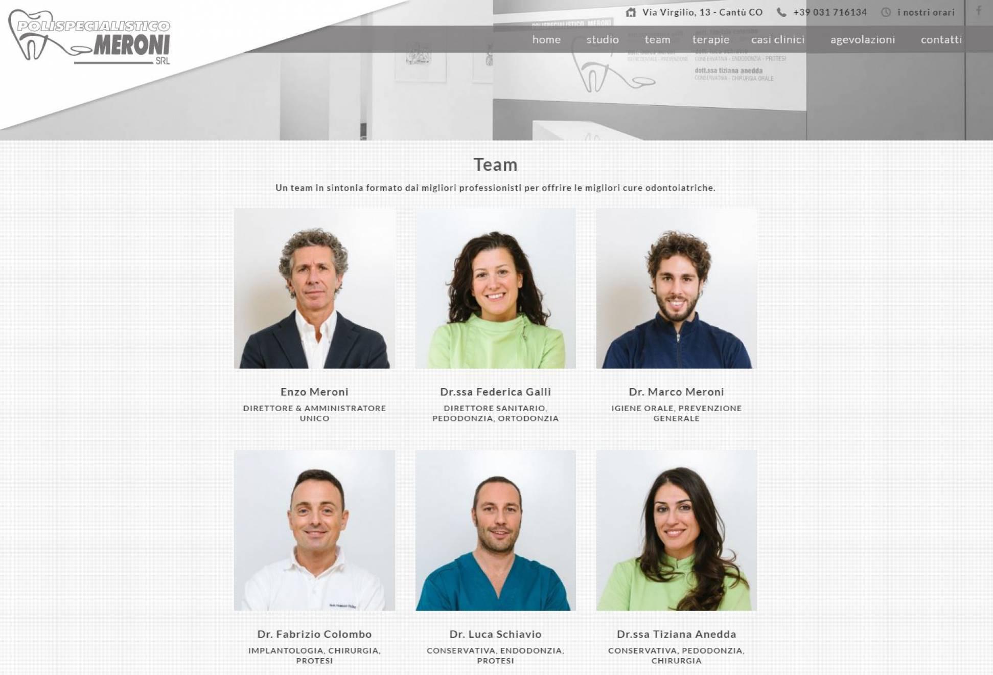 Team Polispecialistico Meroni sito internet landing page