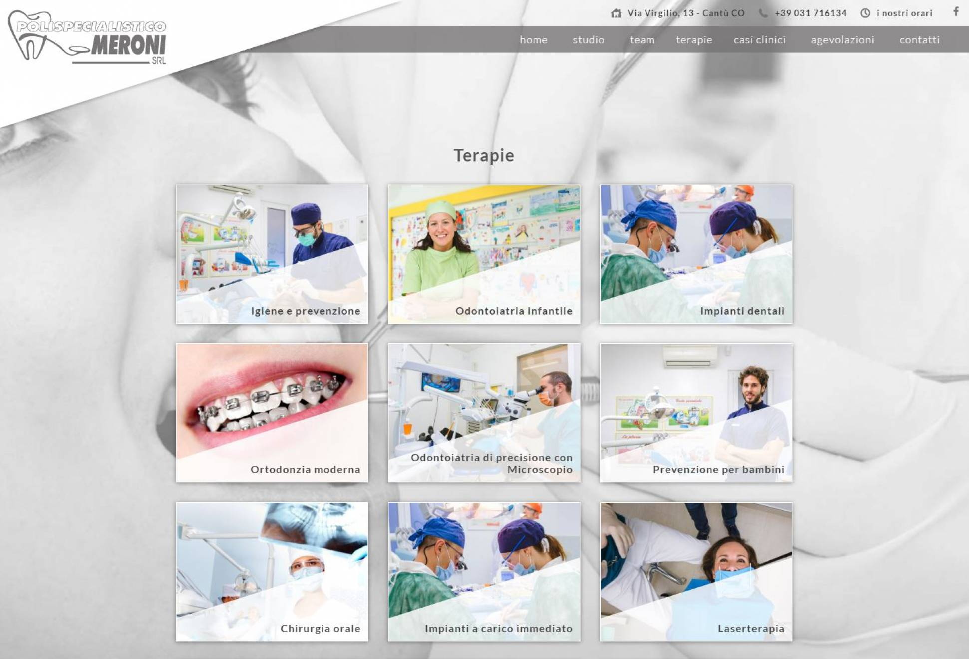 Pagina terapie sito web responsive Polispecialistico Meroni