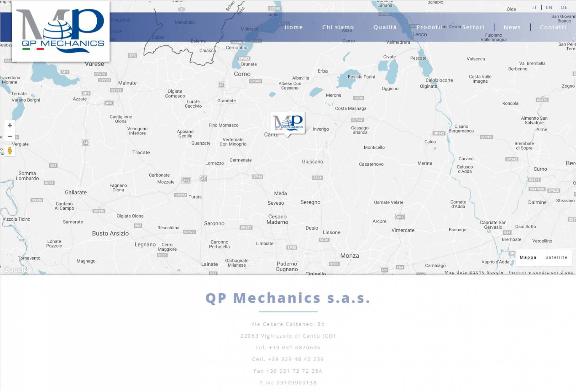 Contatti sito web responsive QP Mechanics NewVisibility