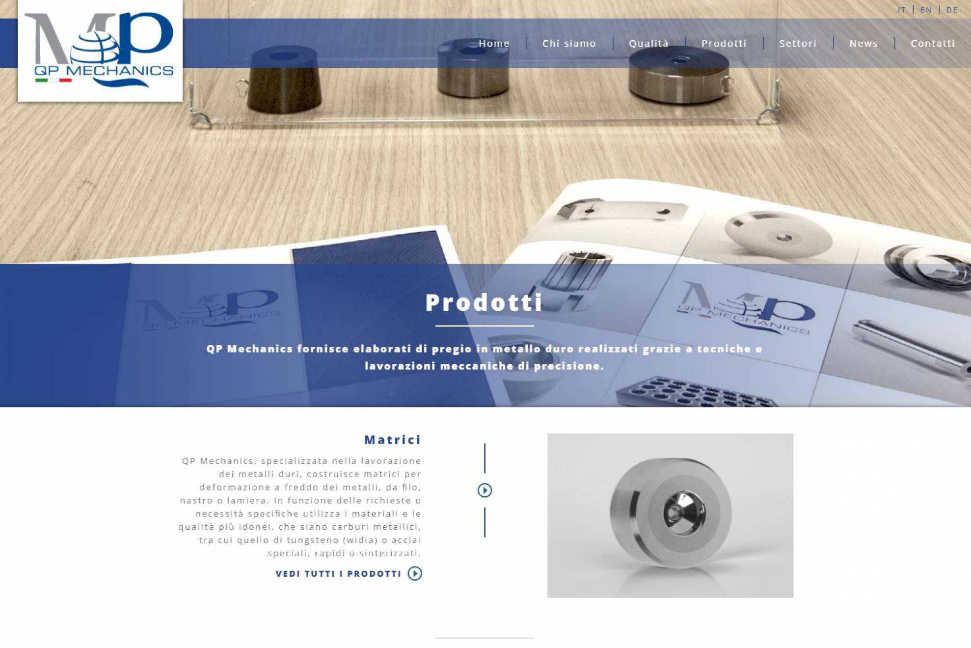 Pagina prodotto sito internet responsive QP Mechanics NewVisibility
