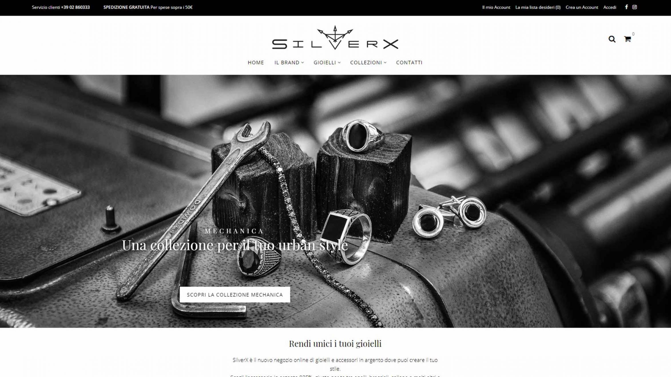 Home page e-commerce SilverX