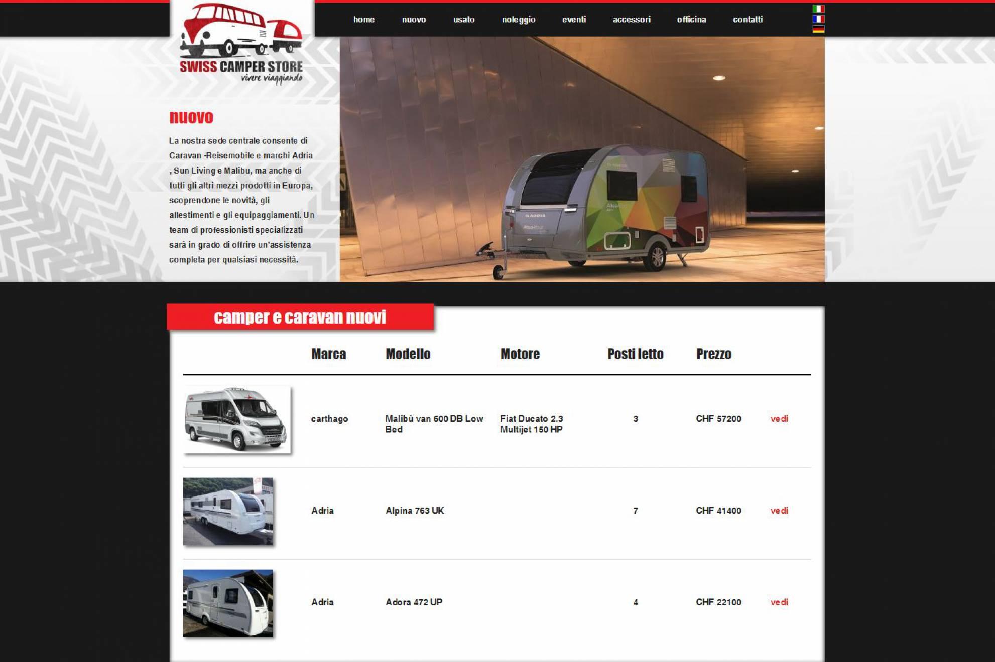 Prodotti nuovi sito internet Swiss Camper