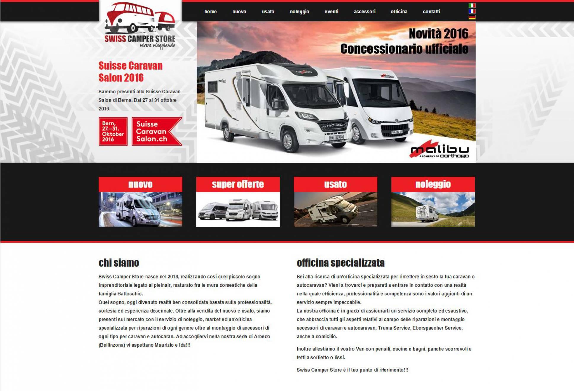 Realizzazione sito internet Swiss Camper NewVisibility