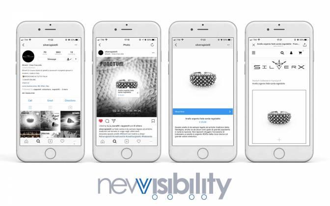 nuova funzione shopping su instagram NewVisibility web agency Como
